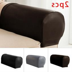 2PCS Practical Stretchy Waterproof Sofa Armrest Covers PU Le