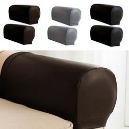 2PCS Stretchy Waterproof Sofa Armrest Covers PU Leather Acce