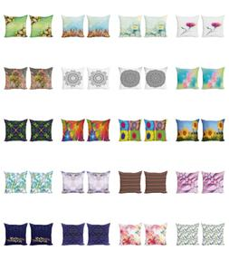 Ambesonne Floral Vivid Cushion Cover Set of 2 for Couch and