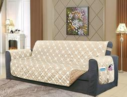new beige white quilted sofa cover w