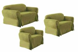 SOLID SUEDE Couch Covers 3 Piece Burgundy  slipcover Set = S