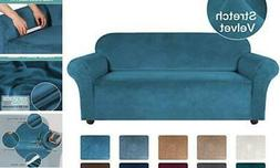 Turquoize Velvet Sofa Slipcover Stretch Couch Covers for 3 C